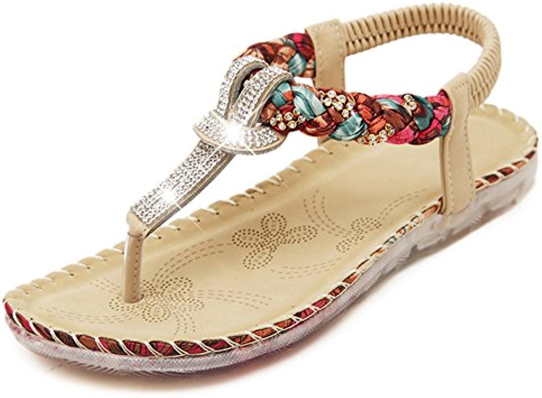 le strass, sandales fond xiaolin style ethnique fond sandales plat vacances chaussures de plage féminin rome simple version coréenne... 1b388f