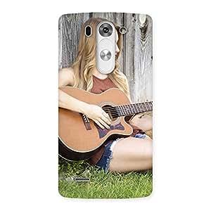 Cute Guitar Girl Multicolor Back Case Cover for LG G3 Mini