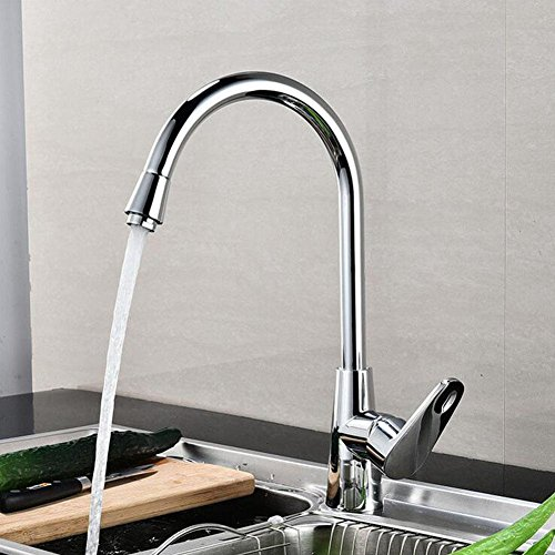 Preisvergleich Produktbild Küchenspüle Wasserhahn Einloch Kupfer Kern 360 Grad Drehung Gemischte heiße und kalte Hähne