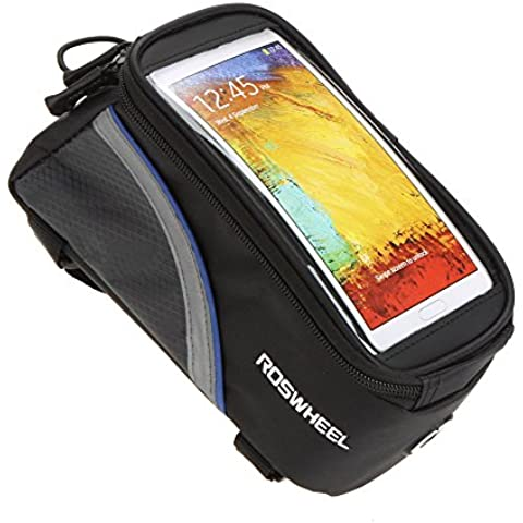 Roswheel Impermeabile MTB BMX Bicicletta ciclismo Telaio Borsa Bici Frontale Telefono Cellulare Borse da sella Custodia Caso Borsa + 3,5 mm prolunga audio Per Smartphone IPhones Samsung LG Nexus Lumia Sony HTC 5.5