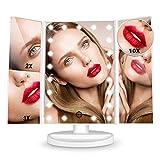 HAMSWAN [2019 Édition Miroir Maquillage] Miroir Grossissant Triptyque avec 21pcs LED, Miroir Lumineux 2X/3X/10X avec Ecran Tactile, Alimentation Double, Rotation Réglable à 180 °