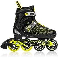 METEOR® DISTRICT Patines en Línea (Niños Mujer Hombres Inline Skates ABEC 7 de carbono Tamaños ajustable 30-33/34-37/38-41), Tamaño:S (30-33)