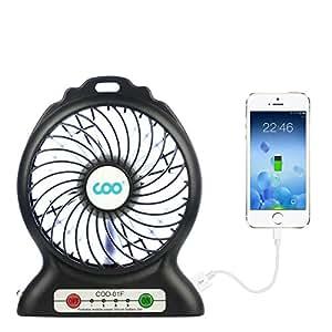 Mini ventilateur de bureau usb coo ventilateurs de table avec batterie et led light 3 vitesses - Mini ventilateur de bureau ...