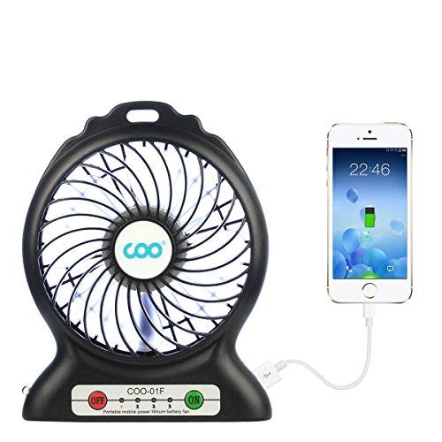 Mini Ventilateur de Bureau USB, COO Ventilateurs de Table avec Batterie et LED Light 3 Vitesses Fan Turbo-Ventilator Multifonction Poche Compatible pour Ordinateur Portable Voyage Office [Noir]