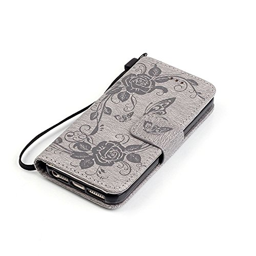 SRY-Caso semplice Copertura protettiva di cuoio della farfalla della farfalla della farfalla della farfalla della farfalla di goffratura per IPhone 5 5S SE 6 6S Plus Protezione rinforzata ( Color : Br Gray