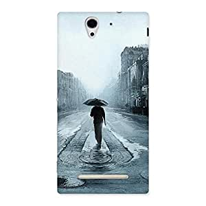 Special Beautiful Walking Rain Multicolor Back Case Cover for Sony Xperia C3