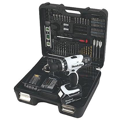 Makita DHP453SMWX Taladro Combinado 1x18V 4Ah Li-ion + 101 accessorios + maletin