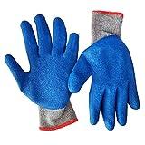 Fingertoys Handschuhe, Nylon, Schweißhandschuhe, Arbeitshandschuhe, Sicherheitshandschuhe für Schweißer, Arbeit für Grill, Küche, Kochen, Ofen, 1 Paar blau
