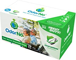 OdorNo Odor-Barrier Eco-Friendly Disposable Bags for Diapers Pet Waste Household Use (2Gallon Adult - 25 Bags)