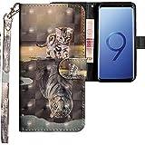CLM-Tech Samsung Galaxy S9 Hülle, Tasche aus Kunstleder, Katze Tiger grau, PU Leder-Tasche für Galaxy S9 Lederhülle