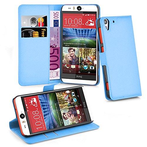 Cadorabo Hülle für HTC Desire Eye Hülle in Pastel blau Handyhülle mit Kartenfach und Standfunktion Case Cover Schutzhülle Etui Tasche Book Klapp Style Pastell-Blau