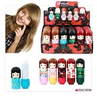 24 x Lip Balm Doll Shaped 6 Different Case Designs Display Box 2.6g Wholesale Price (24 Lip Balms (1 Box))