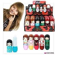 24 x Lip Balm Doll Shaped 6 Different Case Designs Display Box 2.6g Wholesale Price (24 Lip Balms (1 Box))