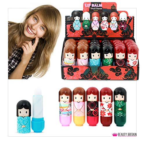 24 x Balsamo per le labbra Bambola a forma 6 disegni differenti di casi Display Box 2.6g...