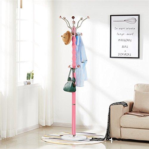 SKC Lighting-Porte-manteau Porte-manteau de sol unipolaire de haute qualité en acier inoxydable européenne vêtements rack chambre à coucher maison chapeau stand noir, rose, blanc (38 * 38 * 183cm) ( Couleur : Rose )
