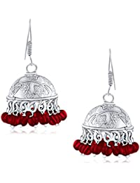 Spargz Embellished Red Bead Silver Oxidized Long Jhumki Earrings For Women AIER 656