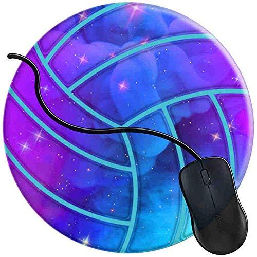 Volleyball Blau Lila Aqua Galaxy Mauspad Gaming rutschfeste Gummibasis Komfort-Mauspad Langlebig Genähte Kanten Rundes Gaming (0,3 cm * 20 cm * 20 cm)