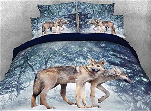luckey1Tiger Print 3D Bettwäsche Sets Queen Size, Polyester Queen Bettwaren Bettwäsche Sets 4Stück, 1Bettbezug, 1Bettlaken, 2Kopfkissenbezüge, keine Tröster, baumwolle, Snow Wolf, Queen -