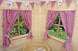 Kinder Spielhaus Vorhänge - rotes Vichy-Muster - inklusive Befestigungsmaterial - Wendy-Haus/Sommer-Haus.
