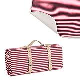 [casa.pro] Picknickdecke - 200x147cm - mit wasserabweisender Rückseite + Tragegriff (rot)