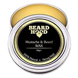 Beardhood 100% Natural Mustache and Beard Wax for Strong Hold, Natural Musky Scent