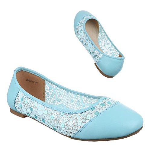 Damen Schuhe, DM58-99, BALLERINAS ÜBERGRÖßEN PAILETTEN Hellblau