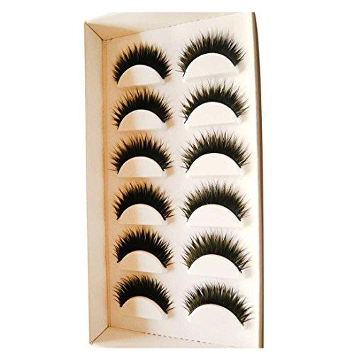 Damen Wimpern, SHOBDW 6 Paar handgemachte natürliche falsche Wimpern (6 Paare, Schwarz)