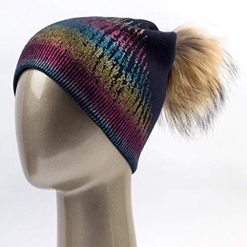 Imagen de aegkh gorro de invierno de las mujeres ocasionales gorros de lana de punto caliente con sombrero real de las señoraspompons gorros, g
