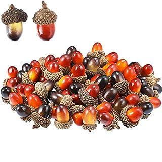 100 Pieces Acorns Decor Craft Artificial Acorns Fake Fruit Props Acorns Decoration for DIY Handcraft Party