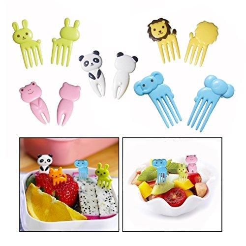 OFKPO 10 Stück Kinder Food Picks,Kunststoffe Tier Frucht Gabel für Lunch Box Dekor Werkzeug