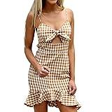UFACE Damen Backless Bow Plaid Kleid mit V-Ausschnitt Ärmelloses Kleid mit Minikleid (M, Gelb)