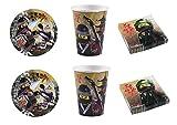 Lego Ninjago coordonné décorations fête–Kit N ° 2CDC- (16assiettes, 16gobelets, 20serviettes)
