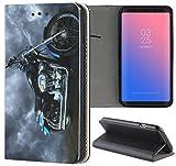 Samsung Galaxy A3 2017 Hülle Smart Flipcover Schutzhülle Case Handyhülle für Samsung Galaxy A3 2017 (1058 Motorrad Schwarz Blau Silber)