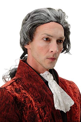 WIG ME UP - 4287-P103-68 Fasching Karneval Halloween Perücke grau mit Zopf: Barock Edelmann Poet GRAF Fürst Vampir Dracula