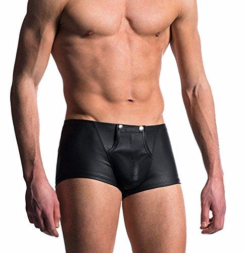 iixpin Herren Boxershorts Unterhose Slip Pants Hipster Kunstleder Wetlook Männer Unterwäsche schwarz Leder Shorts M L XL XXL Schwarz XX-Large (Shorts Leder Sexy)