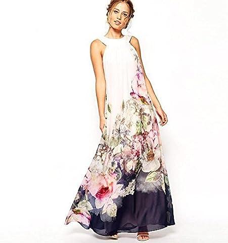 Babyonlinedress Robe de soirée/Bal/Cocktail Longue Impression Fleur sans manche en Mousseline de soie Blanc XL