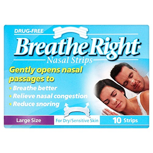 6 x Breathe Right Nasal Strips Large Size for Dry/Sensitive Skin 10 Strips -