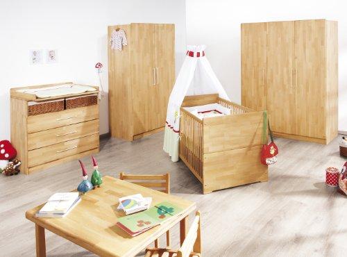Preisvergleich Produktbild Pinolino Kinderzimmer Natura breit, 3-teilig, Kinderbett (140 x 70 cm), breite Wickelkommode mit Wickelansatz und Kleiderschrank, Buche massiv, geölt (Art.-Nr. 10 21 74B)