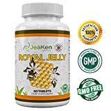 ROYAL JELLY Organic by JeaKen - Royal Jelly Fertility Womens - 750mg High Potency - For Healthy Hair And Skin - Boosts Energy Levels - Helps Fight The Symptoms Of Hay Fever - Suitable For Vegetarians - 60 Tablets - Made In UK from JeaKen