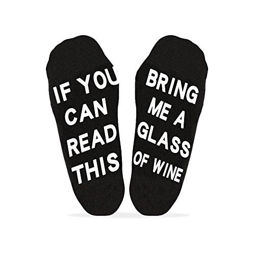 Unicoco DE kurz Stock Unisex Frauen Mens Funny Wenn Sie dies lesen können Bring Me ein Glas Wein Bier Kaffee Tacos Socken 2 Paare, weiße Socken mit schwarze Wörter und schwarze Socken mit weiße Wörter Wein Buchstaben