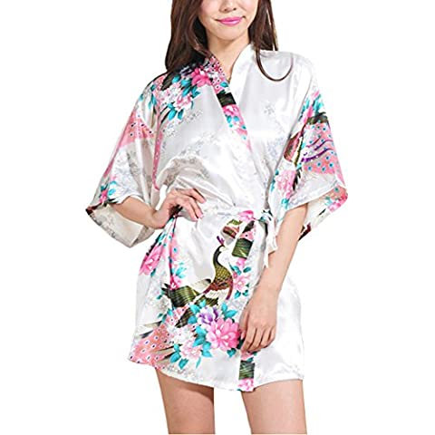 Waymoda Women Luxury Silky Satin Evening Dressing Gown, Ladies Peacock and Blossoms Pattern Kimono Pajamas, 10+ Color, 4 Sizes Optional - Short (Dobby Kostüm Erwachsene)