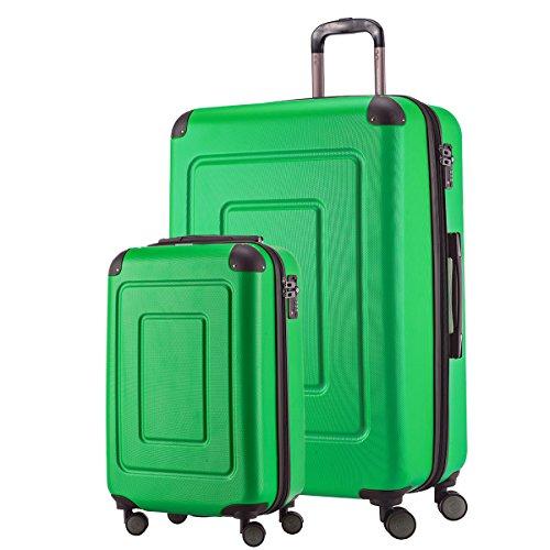 HAPPY TROLLEY by HAUPTSTADTKOFFER 2er Kofferset · LUGANO · TSA · MATT · 44 Liter Handgepäck + 123 XL Reisekoffer (in versch. Farben) (Apfelgrün)