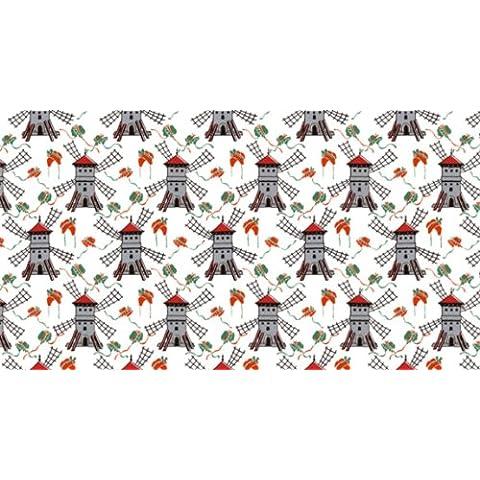 Papel pintado con diseño de Berlín - papel tapiz bajo petición - con diseño de papel pintado de - Kitchen - Old style - molinos de viento de colour rojo no 4057