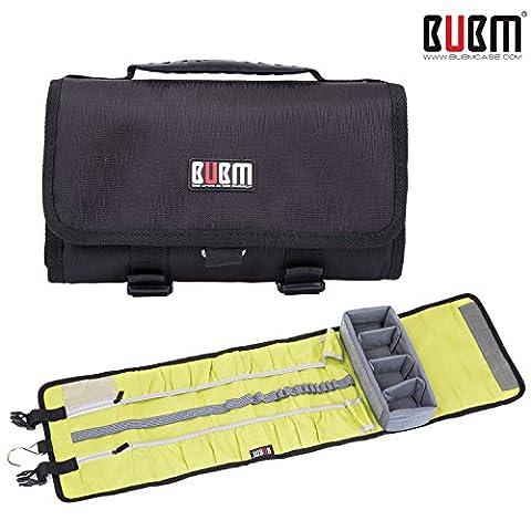 Sacoche pour caméra sport BUBM pour GoPro Hero 4, 3+, 3, 2 et accessoires - Sac à bandoulière grand écran pour toile et voyage à grande surface - Noir