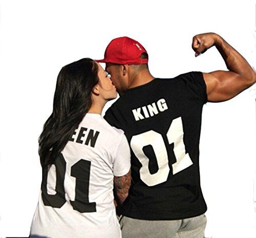 Jc.kube Coppia di T Shirt Personalizzate Con Numeri King And Queen