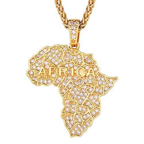Richsteel Iced Out 18k vergoldete Afrika Karte Anhänger Halskette, mit verlässlicher Weizenkette mit Zirkonia Afrikanischer Schmuck Halskette mit Schmuckbox... (Gold Afrika-karte Anhänger)