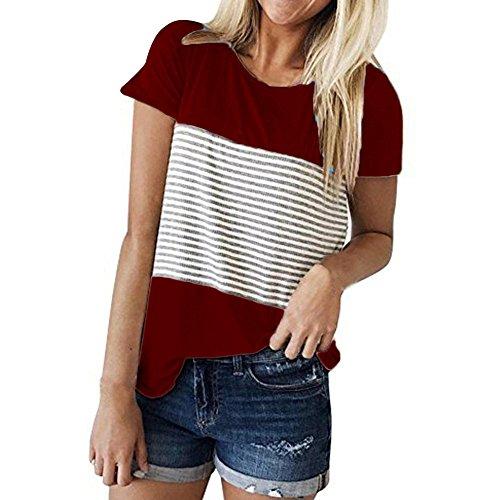 CAOQAO Damen Casual Patchwork Farbblock Kurzarm Triple Color Block Streifen T-Shirt LäSsige Bluse Atmungsaktives Laufshirt(XL,rot)