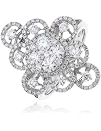 1.35CTS Certified G/VS2 Brilliant Cut Large Fancy Pattern Dress Ring in 18k White Gold