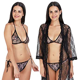 Rebellious rose Nighty with Robe and Bra, Panty Baby Doll Set for Women (Black)