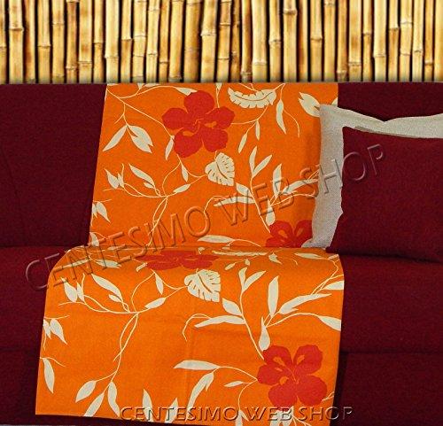 Telo arredo copritutto 300x270 cm maxi prodotto in italia gran foulard multiuso telo tuttofare copridivano - fantasia floreale fiori - 300x270 cm arancione